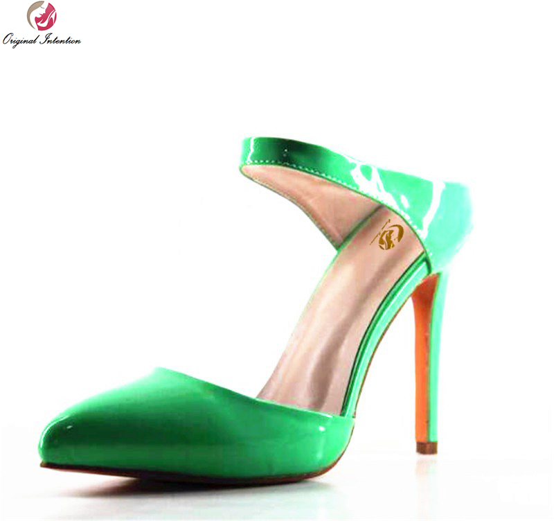 Original Intention New Sexy Women Pumps Beautiful Pointed Toe Thin Heels Pumps Nice Green Shoes Woman Plus Size 4-10.5 big size 40 41 42 women pumps 11 cm thin heels fashion beautiful pointy toe spell color sexy shoes discount sale free shipping