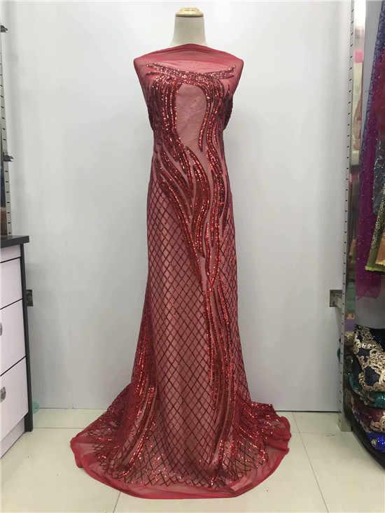 Vestidos de noite Sexy Lace Lantejoulas Malha Net Renda Tecido Preto de Lantejoulas Bordado Tecido Rendas Guipure Africano Swiss Voile Tule