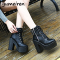 lace up boots platform shoes woman punk boots chunky high heels pumps women ankle boots winter shoes women short boots  X105