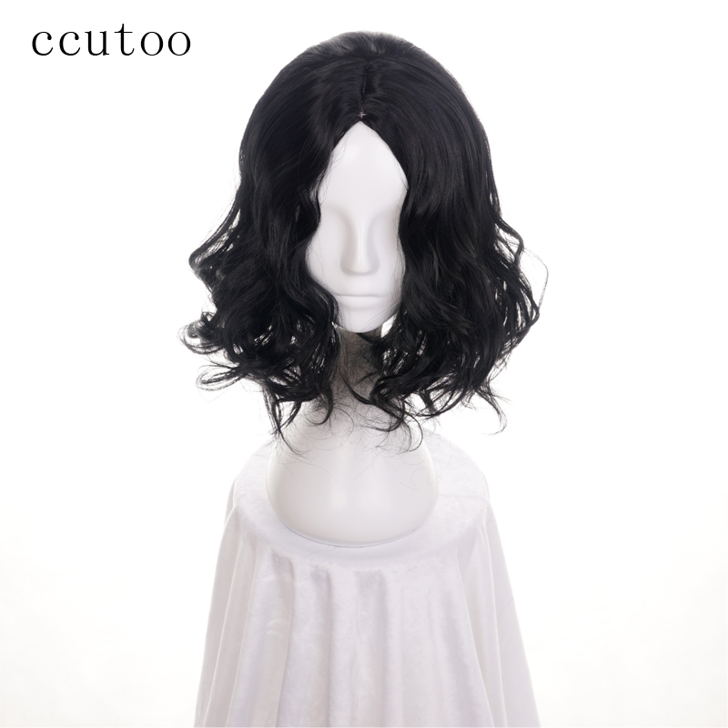 ccutoo 35cm Movie Harry Potter Severus Snape Black Synthetic Curly Hair Cosplay Wig Heat Resistance Fiber