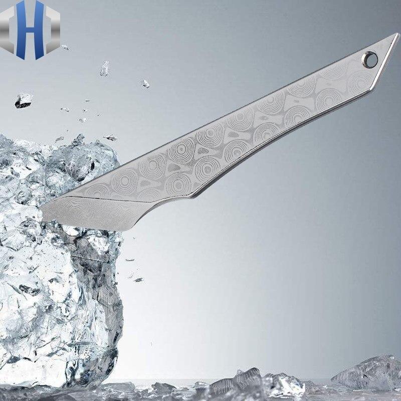 Универсальный нож дамасская сталь из коробки маленький розовый узор Резак Открытый может открыть распаковку Экспресс Нож EDC
