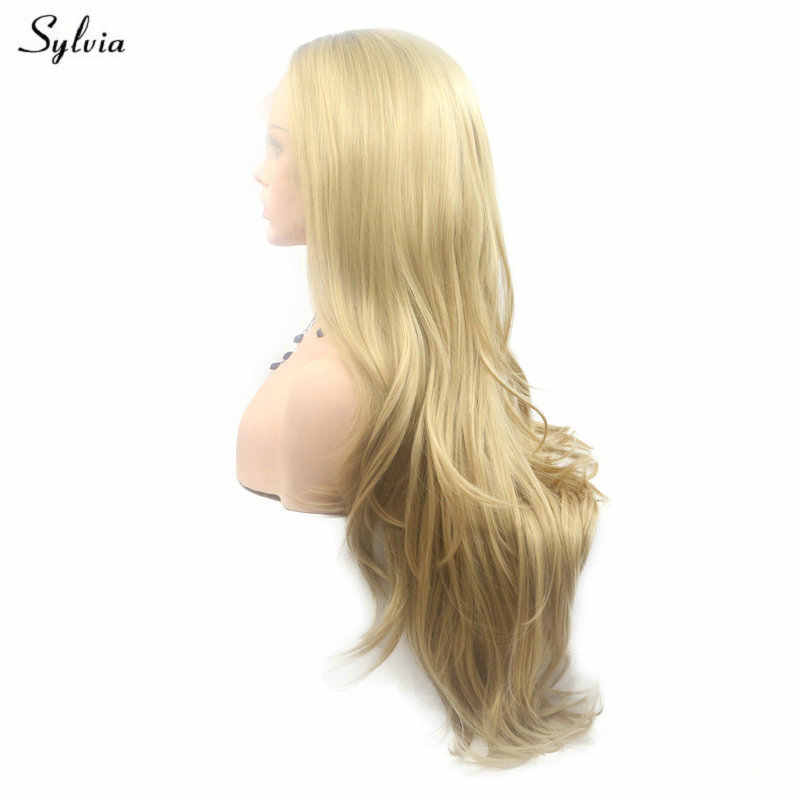 Sylvia Synthetic Lace Front Wigs Soft Long Natural Wave Pastel Blonde Party Natural Hairline Handmade For Women Replacement Wig