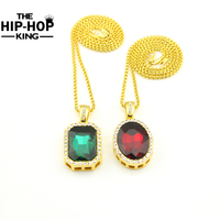 Hip Hop Iced Out Ruby Pendant Necklace Set Gold Plated Oval And Square Ruby Stone Pendant