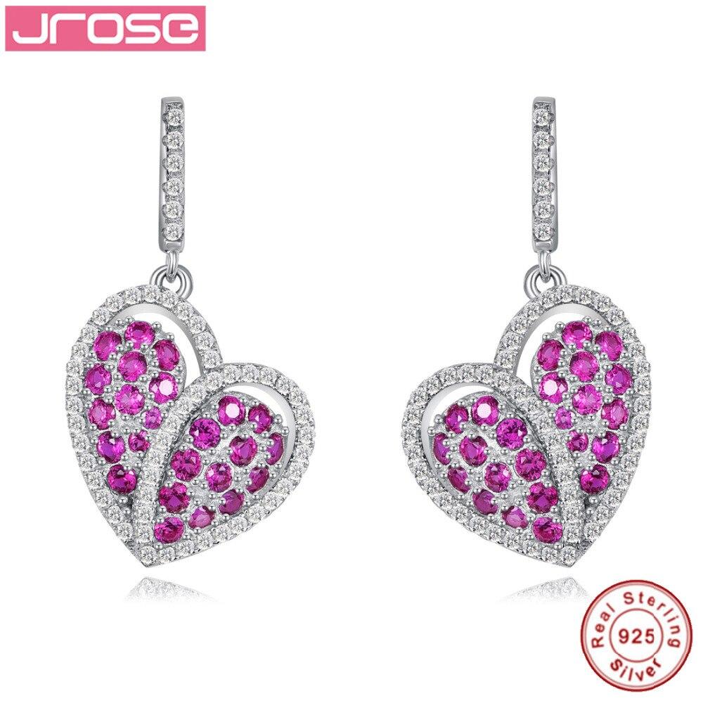 JROSE AAA boucle d'oreille mode coeur Dangle boucles d'oreilles Piercing 925 bijoux en argent Sterling gros cadeau pour les amis avec boîte