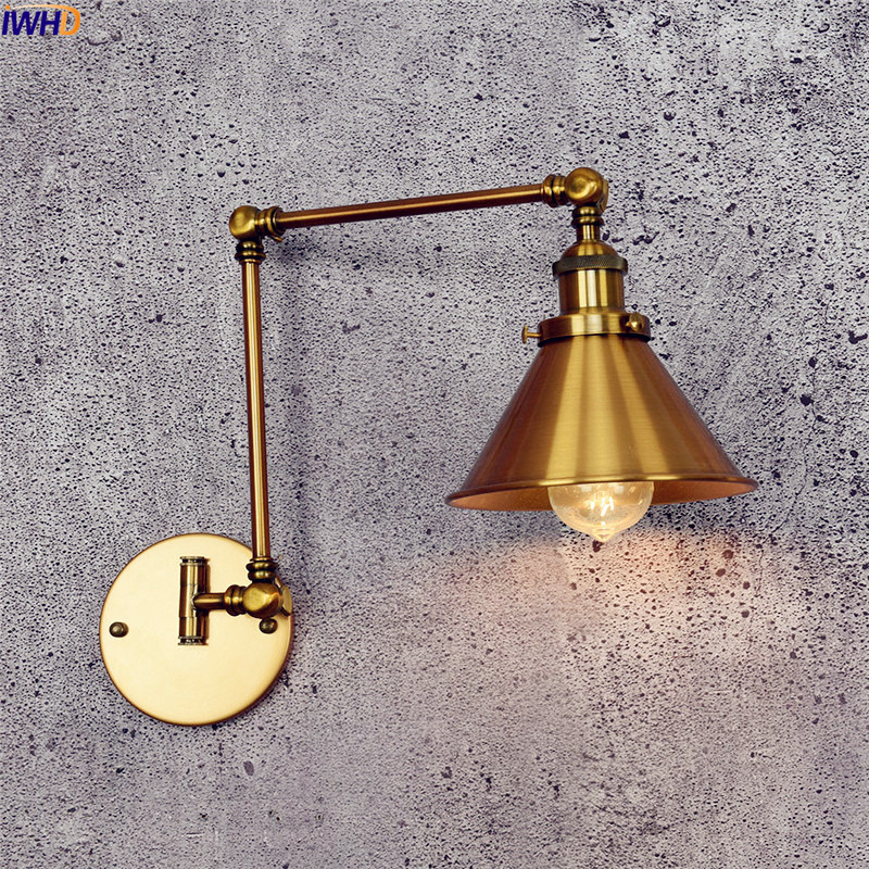 IWHD Golden Retro LED Wall Lamp Vintage Wandlamp Swing long Arm Wall Lights For Home Lighting Industrial Wall Sconce Arandela iwhd antique eidson led wall light fixtures wandlamp swing long arm wall lights vintage industrial wall sconce lampara pared