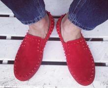 где купить Red Bottoms Sole Men Shoes Fashion Dandelion Spiked Loafers Men Casual Dress Shoes Rivets Flats Black Red 2016 39-46 по лучшей цене