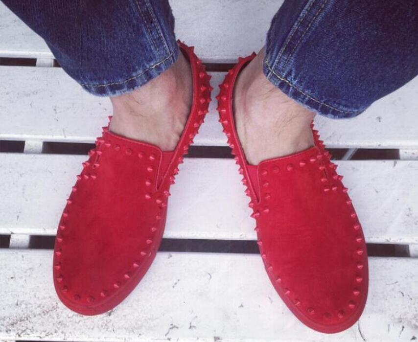 Red Bottoms Sole Men Shoes Fashion Dandelion Spiked Loafers Men Casual Dress Shoes Rivets Flats Black Red 2016 39 46