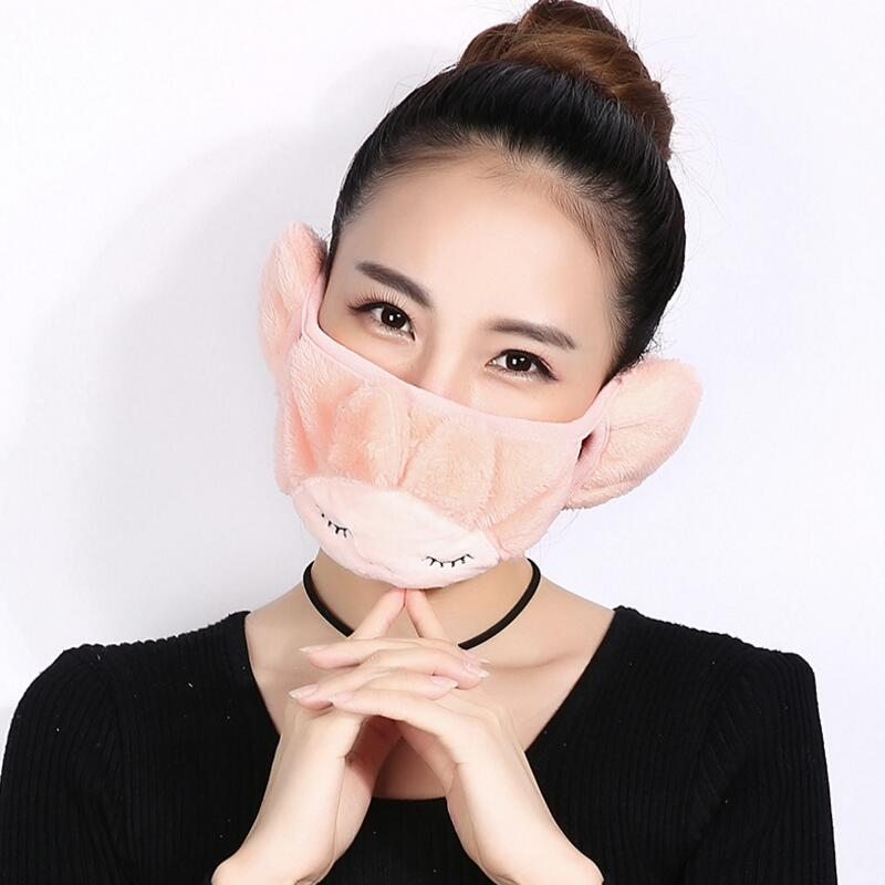 Plush women Lengthened Cartoon mouth mask Protect ears mask PM2.5 filter protection Cycling Windproof Anti-Dust Mouth Face Mask