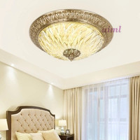 European style all copper led ceiling dome light glass lamp French round bedroom lamp.