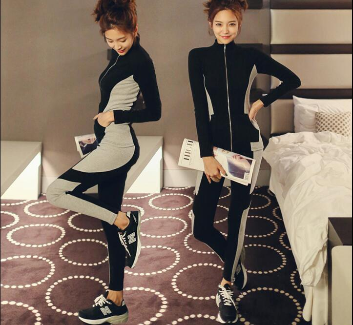 2017 Women Two Piece Set Sporting Tracksuit Casual Long Sleeve Patchwork color Suits Women