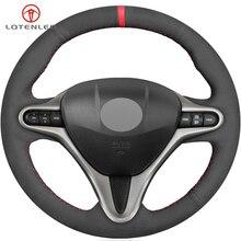 LQTENLEO черная замша DIY Ручная сшитая крышка рулевого колеса автомобиля для Honda Civic 8 2006-2009 старый Civic 2001-2011(3 Спицы