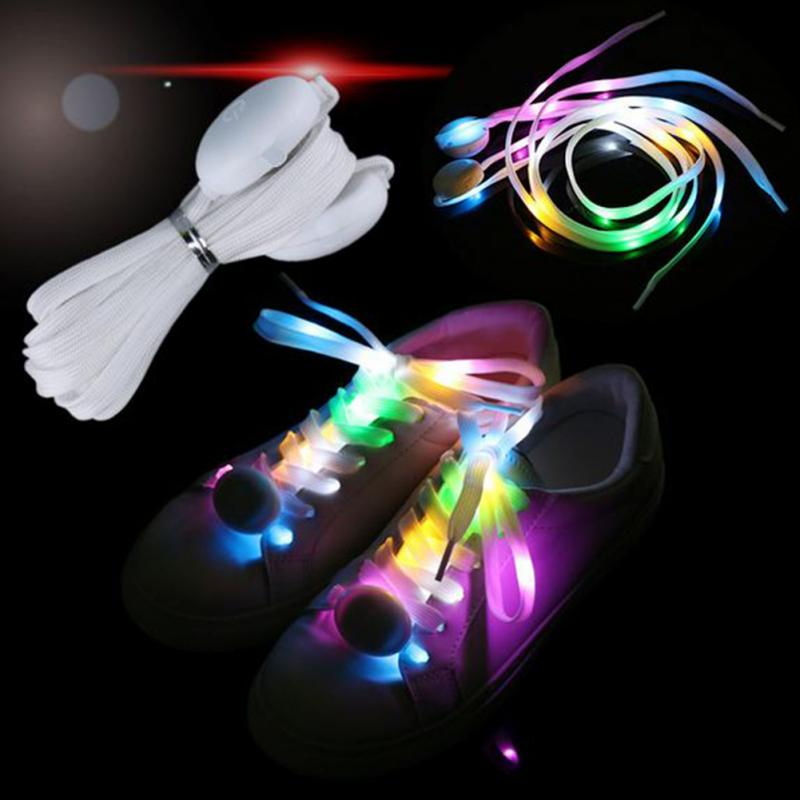 Fashion LED Flashing Shoelace Multicolor Glow Color Changing Shoelace Night Running Waterproof Shoestrings 120cm Length