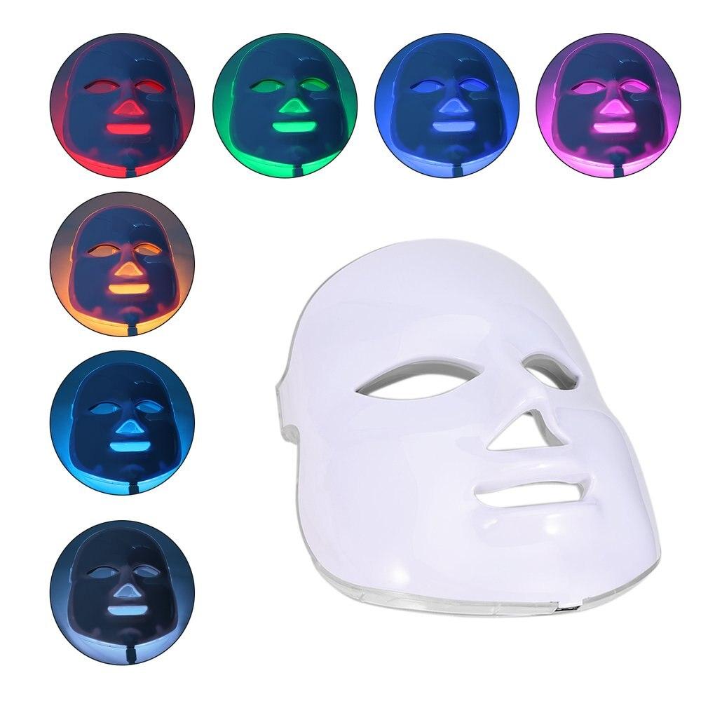 LED Masque Facial 7 Couleur Lumière Photon Resserrer Les Pores Rajeunissement de La Peau Anti Acné Élimination Des Rides Thérapie Beauté Traitement Salon