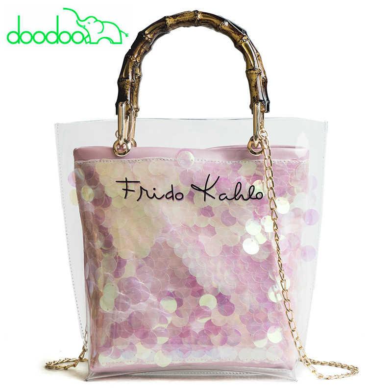 b9ee32fd3ab1 Summer Beach Bags Bamboo Top Handle Tote Women PVC Transparent Handbag Lady  Chain Shoulder Messenger Bag