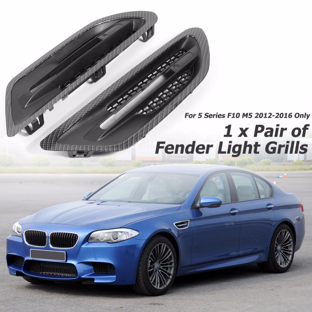 1 Pair Car Air Flow Side Fender Vents Mesh Sticker Grille Fender Light Side Grills Covers for BMW 5 Series F10 M5 2012 2016 Only