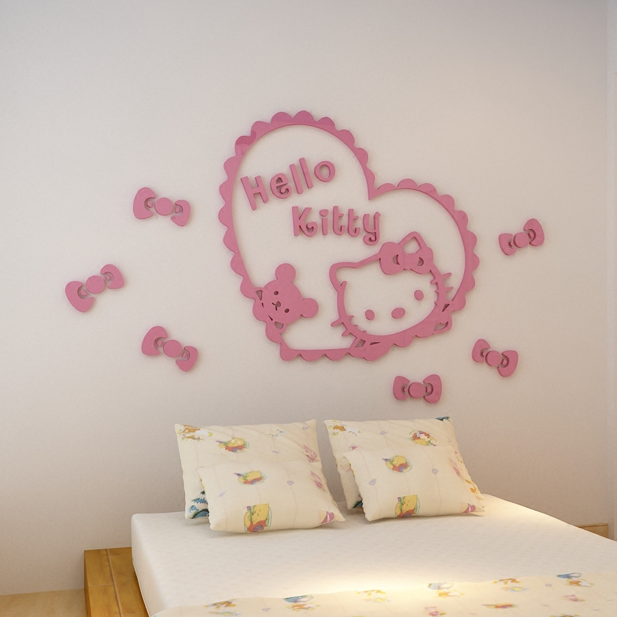 3d Acrylic Pink Hello Kitty Tiga Dimensi Stiker Dinding