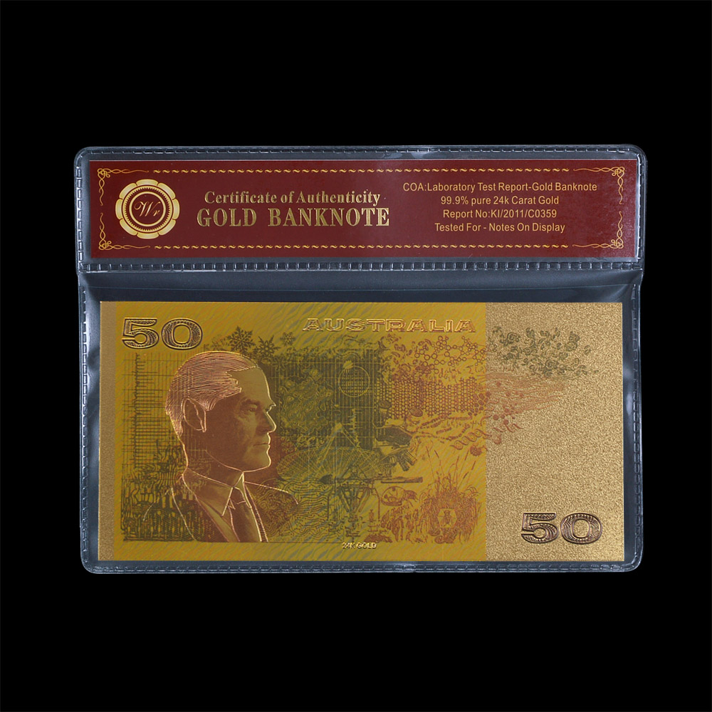 Nice Color Gold Banknote aud Normal Gold Plated Layered Bills Australian 50 Old AUD Replica