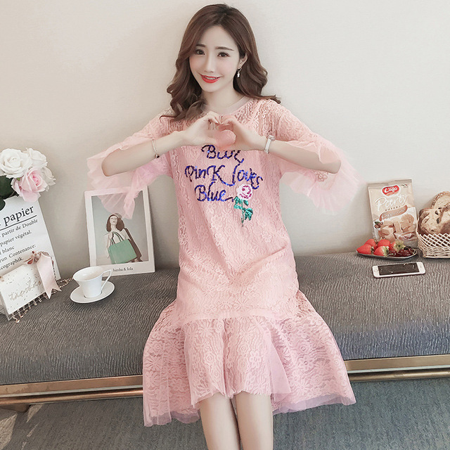 a1edb4a77a29b Casual Lace Maternity pagoda sleeve dresses Hollow out Stylish Clothes for  Pregnant Women Korean Pregnancy Letters