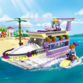 Cogo niñas educativos bloques de construcción de juguetes para los niños regalos mini árbol de yate barco barco moto compatible con legoe