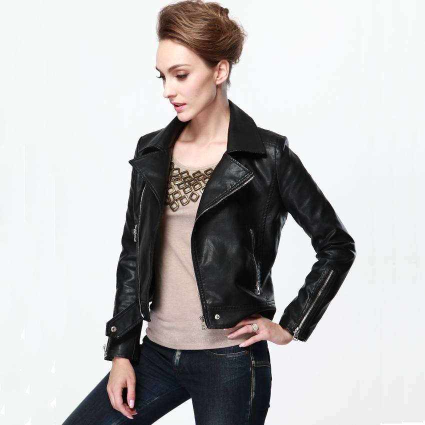 Womens Black Faux Leather Jacket Photo Album - Reikian