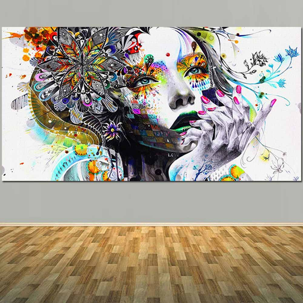 Large Size Hand Painted Canvas Figure Oil Painting Abstract Cartoon Girl Wall Picture For Live Room
