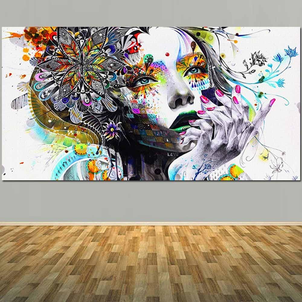 Grande taille peint à la main toile Figure peinture à l'huile abstraite dessin animé fille mur photo pour salon chambre mur décor à la maison-in Peinture et calligraphie from Maison & Animalerie    1