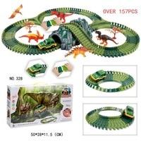 Dinosaur Magical Track Flexible Racing Tracks Cars DIY Dinosaur Educational Toys Plastic Toy Car for Children 2 4 Years