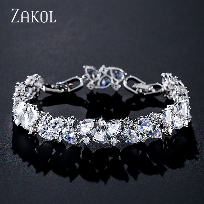 ZAKOL New Shiny Zirconia Zirconia Women Bracelets Bangles For Brides Fashion CZ Leaf Engagement Wedding Jewelry FSBP2104
