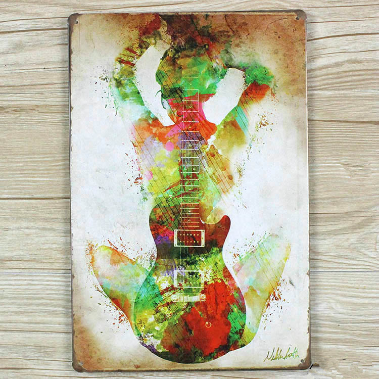Metal tin signs about guitar and music vintage painting RO-0210  home decor wall sticker for bar mural poster 20X30CM