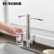 цена Chrome Kitchen Faucets 360 Degree Rotation 3 Way Water Filter Tap Water Faucets Solid Brass Kitchen Sink Tap Water Mixer CF-0182