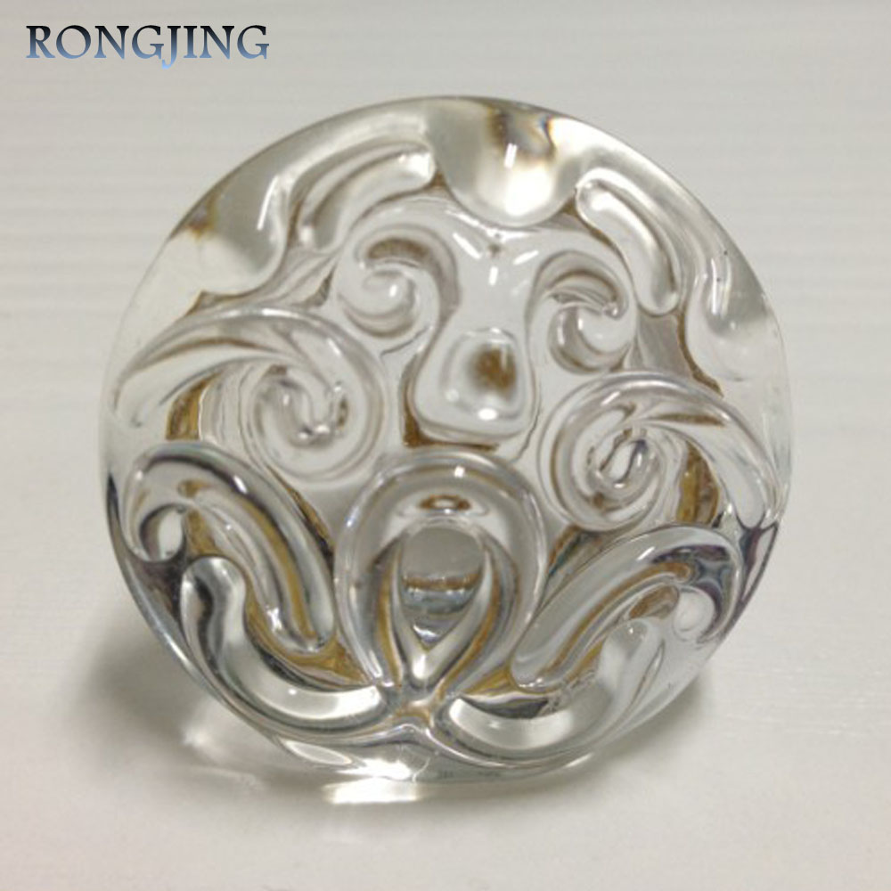 2x Clear Acrylic Kitchen Cabinet Drawer Knobs China Style