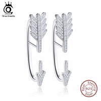 Luxury Arrow Design Silver Earrings Paved 51 Pieces Shiny Austrian Crystal Rhodium Plated 925 Jewelry For