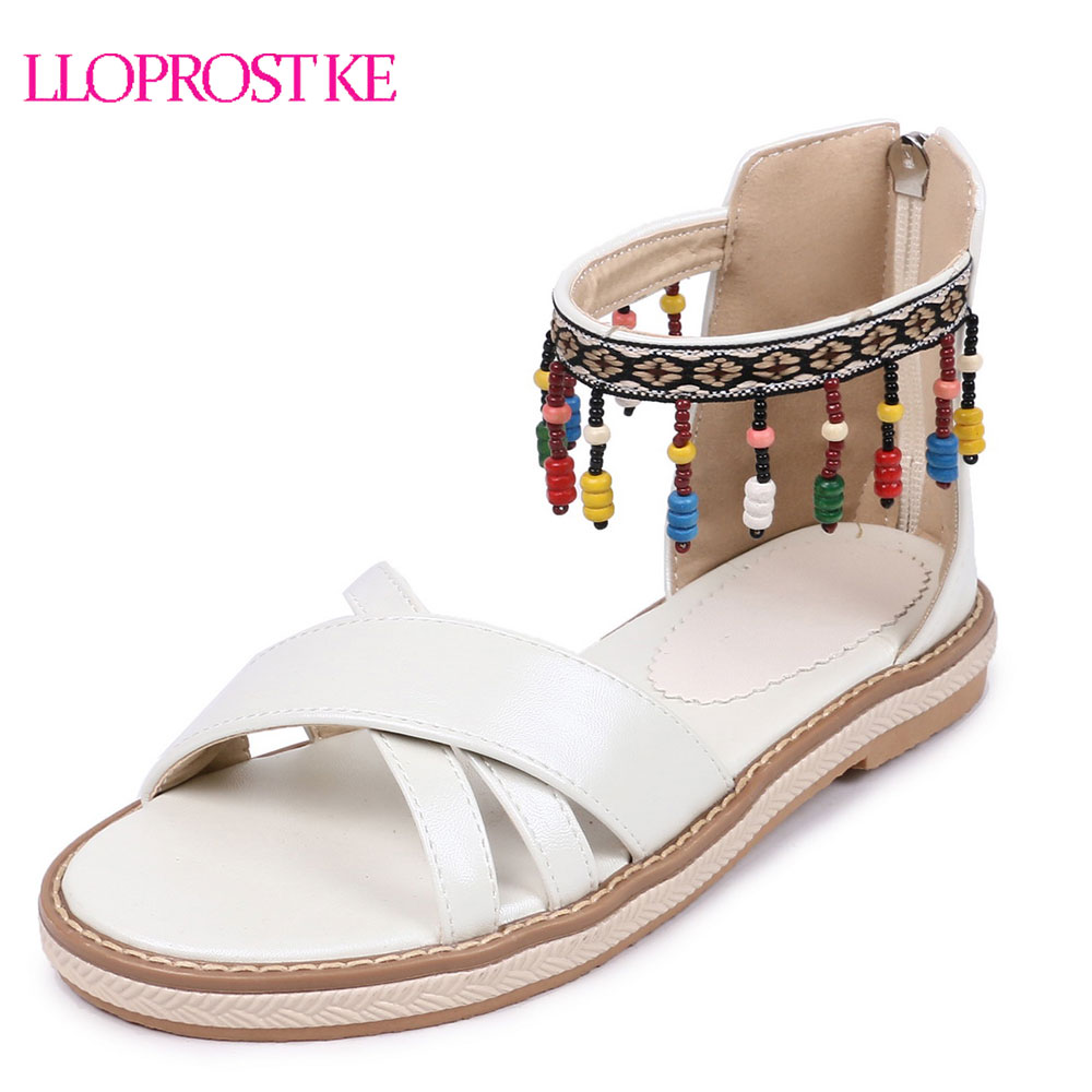 LLOPROST KE Women Gladiator Sandal Beading Flat Heel Sandals Flat Summer Sandals Open Toe Platform Zipper Casual Shoes MY414 rhinestone silver women sandals low heel summer shoes casual platform shiny gladiator sandal fashion casual sapato femimino hot