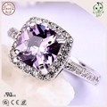 Elegant  and Beautiful S925 Sterling Silver Big Purple Crystal Stone Woman Wedding Rings Engagement Ring