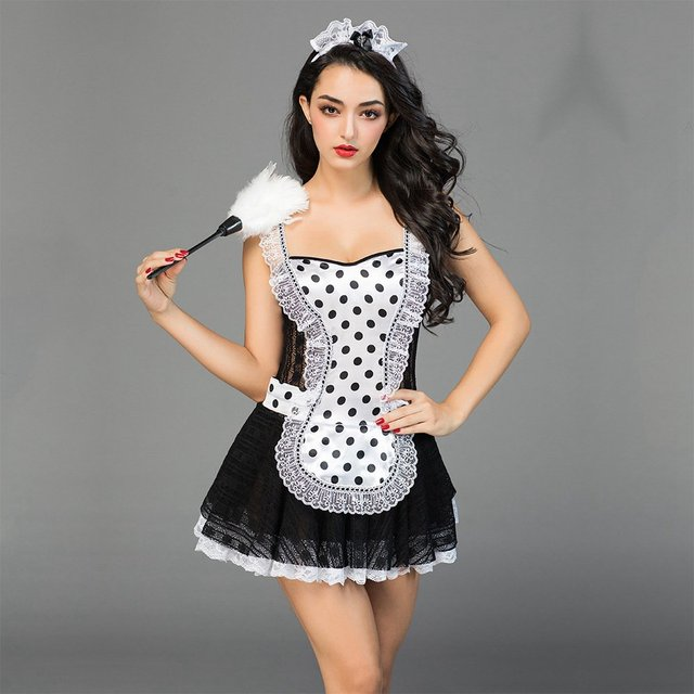 Adult Women French Maid Cosplay Costume Sexy Halloween Outfits New Hot Women Room Service Maid Cosplay Exotic Uniforms 6925