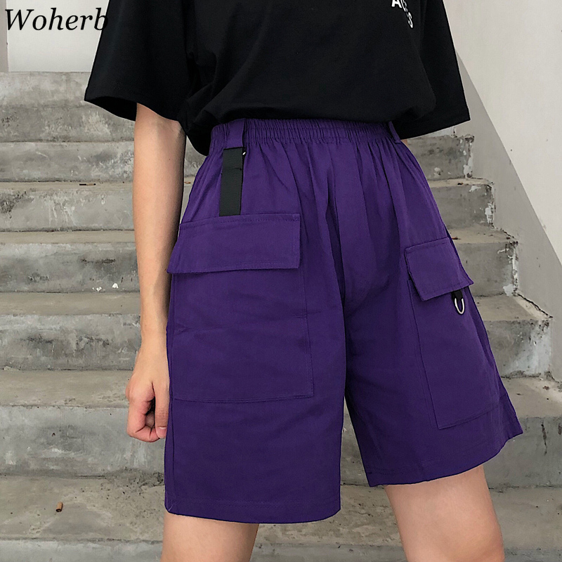 Woherb 2019 Harajuku Knee Length Elastic High Waist   Wide     Leg     Pants   Women and Man Unisex Streetwear Summer Loose Cargo   Pant   22345