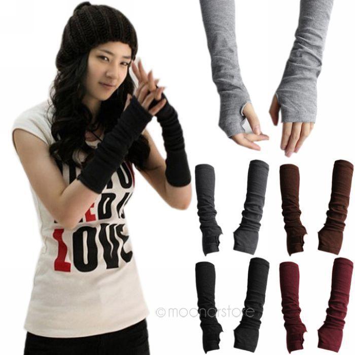 Warm knit wool fingerless gloves ladies winter knitted half finger cuff gloves women winter long mittens unisex