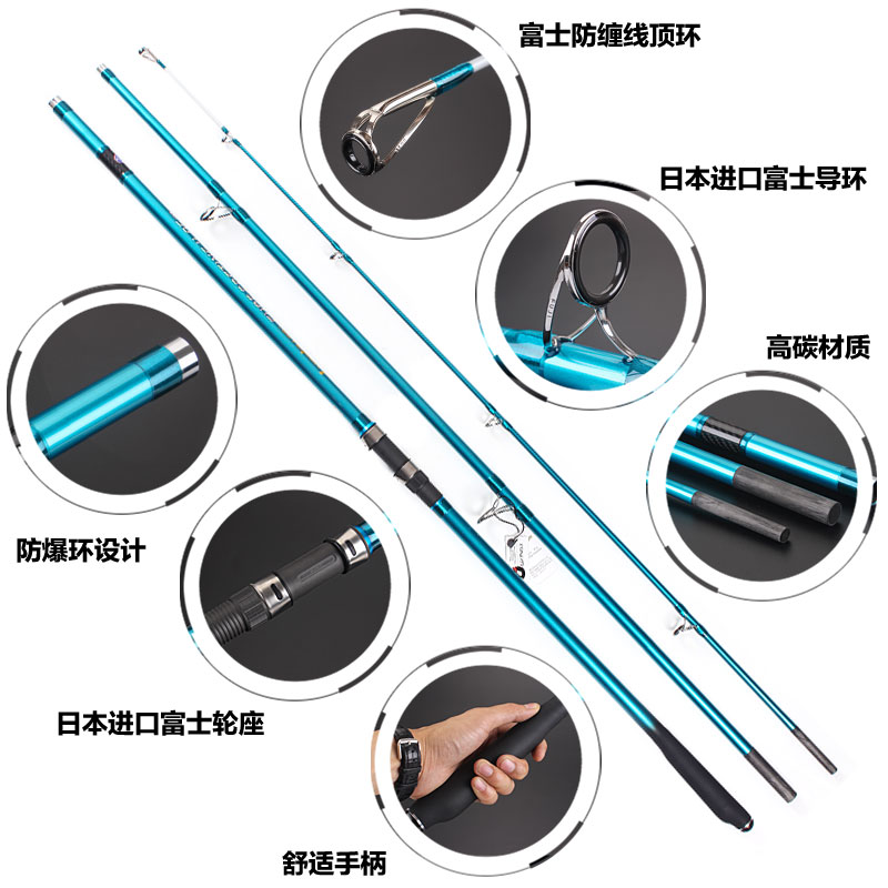 Lurekiller canne à pêche long casting rod Nouveau Japon Qualité Fuji Complets Surf Tige 4.05 M carbone 3 Sections 100- 250G Surf casting tiges