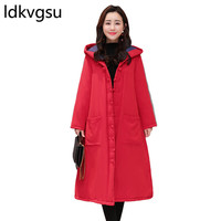 Plus Size Womens Coat Long Hooded Winter Jacket Women 2018 Casual Loose Thicken Parka abrigos mujer Solid Female Overcoat f020