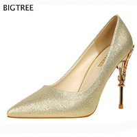 2017 BIGTREE Marque Chaussures À Talons Hauts Chaussures Femmes Pompes Zapatos Mujer Chaussures De Mariage Sapatos De Salto Alto Dame Chaussures 70 s