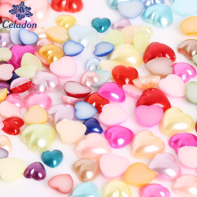 Wholesale 3-4-6-8-10-12 mm Mix Colors Heart Shape Flat back Plastic ABS Imitation Pearl Beads for Jewelry Diy Craft Scrapbook
