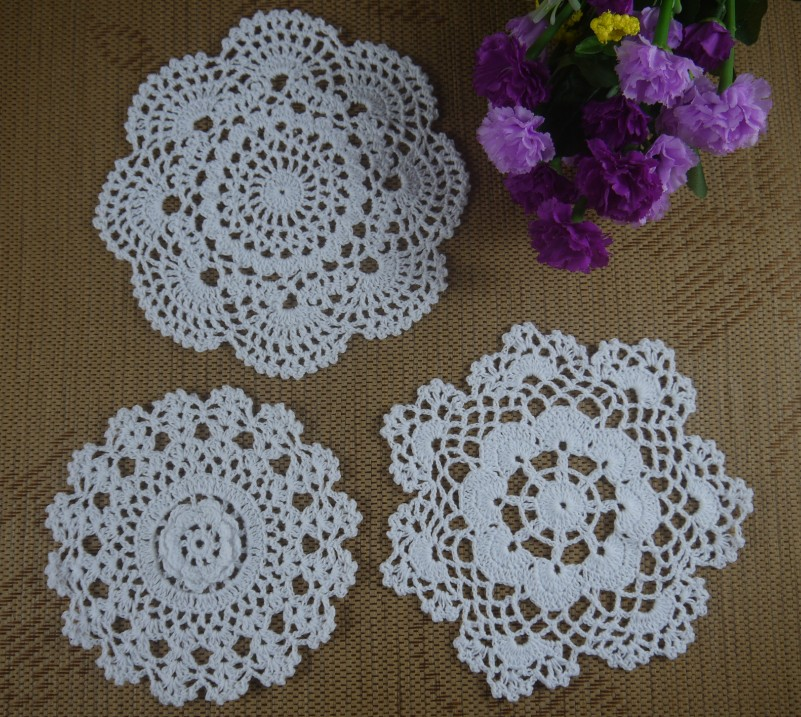 Hecho a mano Crocheted Doilies 16 20 cm Rosa Mat & Pad mantel 15 ...