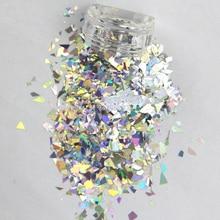 50G/bag Gold/Silver holographic glitter flakes, random cut irregular shape hologram unicorn dust, nail art,