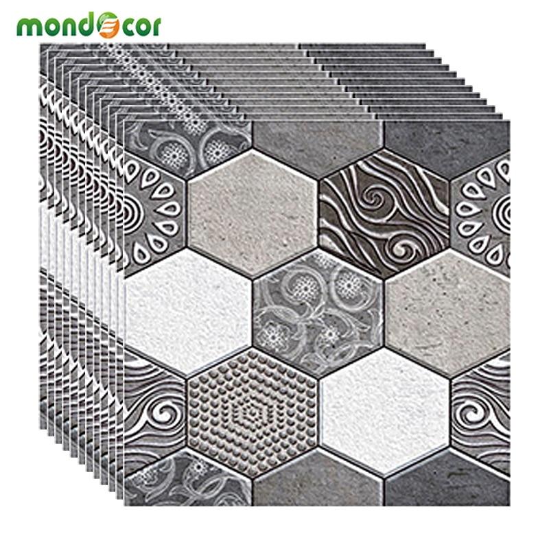 DIY Decorative Waterproof Retro Hexagon 3D Tile Wallpaper PVC Self Adhesive Film Home Decor Living Room Kitchen Wall Covering