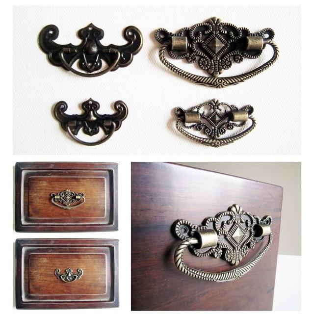 6pcs Antique Brass Bronze Jewelry Box Drawer Cabinet Cupboard Handle Pull Knob Flower Bat Shape