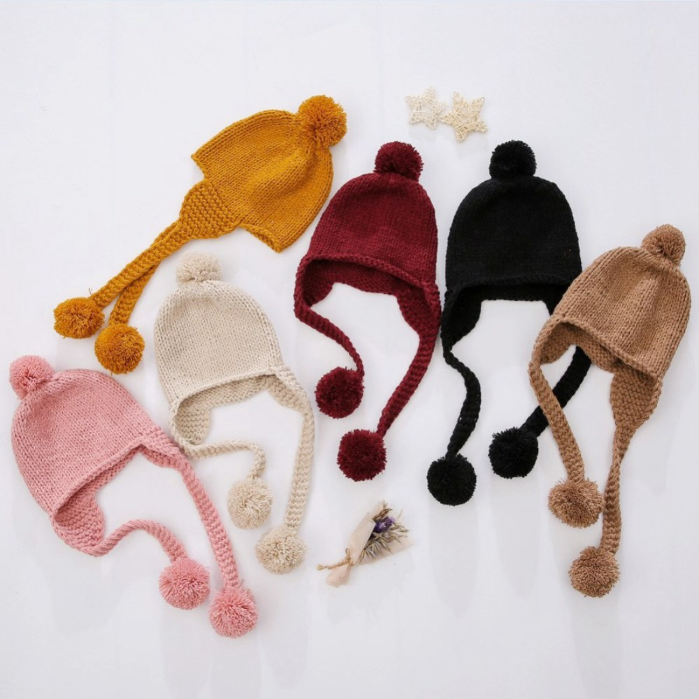 Knitted Baby Winter Hat Fur Pompom Caps Toddler Boys Girls Crochet Cap Cotton Protect The Ears Hairball Hats Warm Kids Beanie