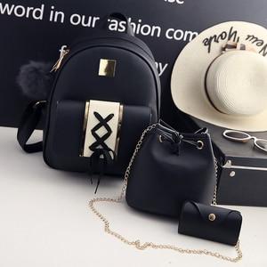 Image 3 - 3 sztuk/zestaw kobiety zestaw z plecakiem pu skóra kobieta moda plecak na co dzień + torebka wiadro + torebka plecak torby dla nastolatków dziewczyny 48