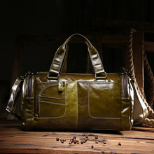 The new oil wax cow leather bags real leather bag fashion in Europe and America big capacity of the bag