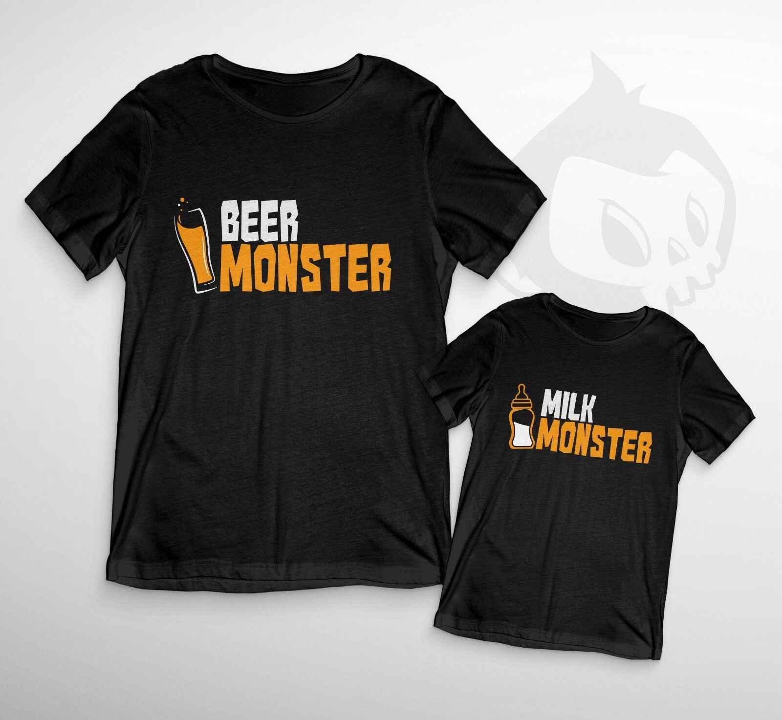 Bier & Melk Monster Duo T-Shirt-Zoon Dochter Nieuwigheid Grappige Papa Baby Kids Cute2019 modieuze Merk 100% katoen Gedrukt ronde N