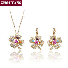 ZHOUYANG Top Quality ZYS255 Lucky Clover  Rose Gold Plated Jewelry Necklace Earring Set Rhinestone Made with Austrian  Crystals